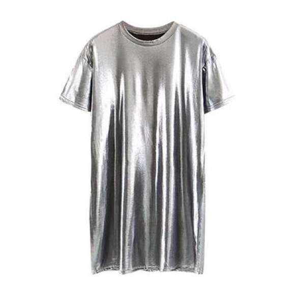 SHEIN Dresses & Skirts - Shein Silver Metallic Tee Shirt Dress